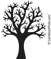 albero, silhouette, 4, modellato