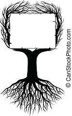 albero, silhouette, con, spazio bianco