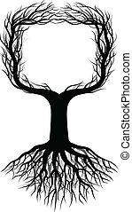 albero, silhouette, con, spazio