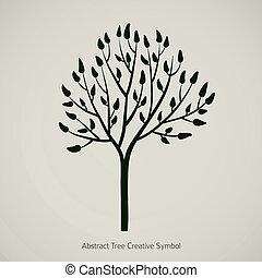 albero, silhouette, icona, design., vettore, ramo, illustrazione