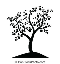 albero, silhouette, mela