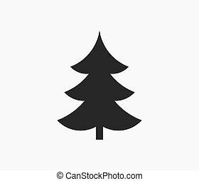 albero, silhouette, natale, icon.