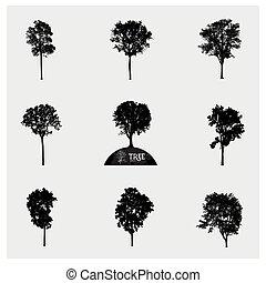 albero, silhouette, vettore, set