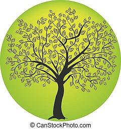 albero, simbolo, silhouette, natura