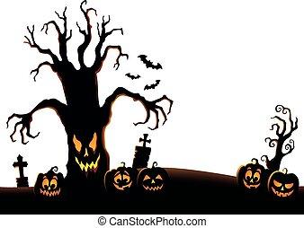 albero, sinistro, silhouette, topic, 2, immagine