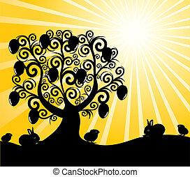 albero, soleggiato, illustrazione, vettore, fondo, pasqua