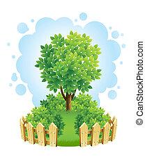 albero, su, prato verde, con, recinto legno