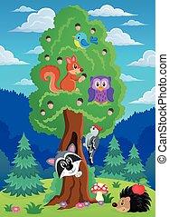 albero, tema, 2, animali, vario