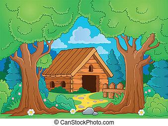 albero, tema, con, legno, costruzione