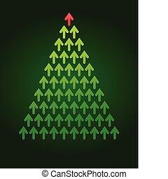 albero, tema, natale, affari, freccia