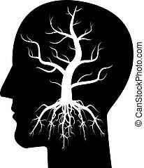 albero, testa, silhouette, uomo