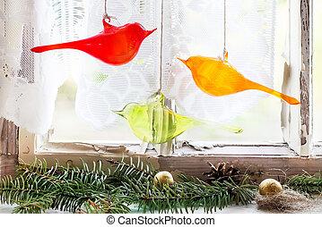 albero, uccelli, finestra vetro, interno, natale