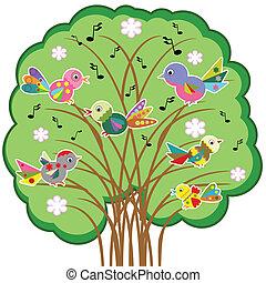 albero, uccelli, vector..