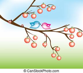albero, uccello, mela
