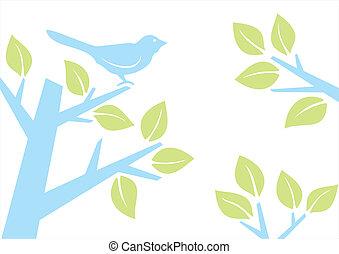 albero, uccello, ramo
