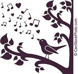 albero, uccello, silhouette