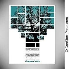 albero, unico, disposizione, pagina