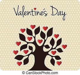 albero, valentines, amore, giorno, cadere