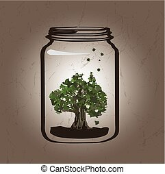 albero, vaso
