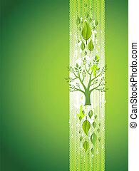 albero verde, eco, fondo, con, mette foglie