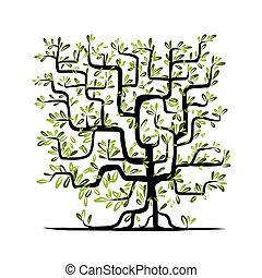 albero verde, forma quadrata, per, tuo, disegno