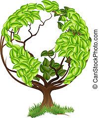 albero verde, globo, terra, mondo, concep