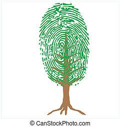 albero verde, impronta pollice