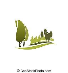 albero verde, simbolo, di, eco, parco, città, giardino, foresta