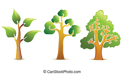 albero verde, vettore, icone