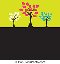 albero., vettore, colorito, illustrazione