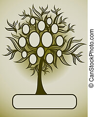 albero, vettore, disegno, famiglia