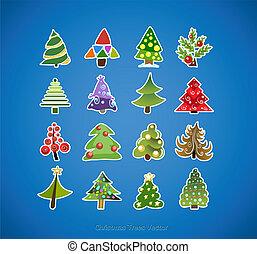 albero, vettore, disegno, natale, icone