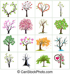 albero, vettore, icone, disegno