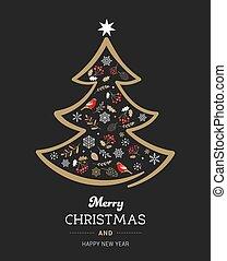 albero, vettore, illustrazione, nero, natale, oro, elegante, natale, elements.