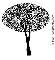 albero, vettore, nero, illustrazione