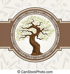 albero, vettore, oliva