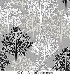 albero, vettore, pattern., seamless, illustrazione