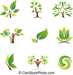 albero vita, logos, e, icone