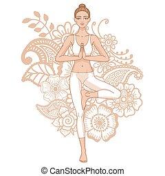 albero, vrikshasana., donne, yoga, pose., silhouette.