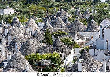 Alberobello (Bari, Puglia, Italy): Panoramic view of the ...