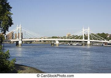 Albert Bridge, Battersea, London - View of the ornate Albert...