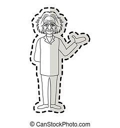 albert einstein icon image sticker vector illustration ...