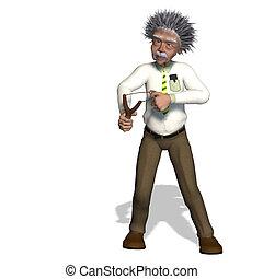 Albert Einstein - rendering of a cartoon professor With ...