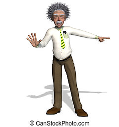 Albert Einstein - rendering of a cartoon professor With ...