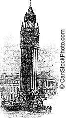 Albert Memorial Clock, in Belfast, Ireland vintage engraving