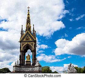 Albert Memorial in London situated in Kensington Gardens