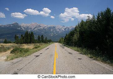 Alberta Canada - Straight scenic road in Alberta, Canada. ...