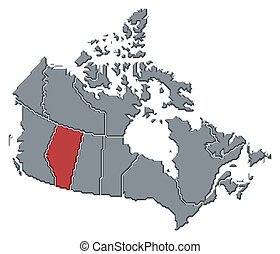 alberta, mapa, highlighted, kanada