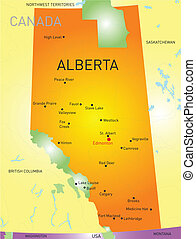 Alberta province - Alberta vector province color map