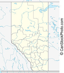 Alberta province map - Map of Canadian or Canada province of...